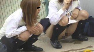 野外隠撮 女子校生達の連れション!3