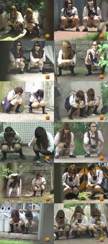 野外隠撮 女子校生達の連れション!4